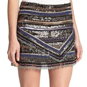Parker Corsica Sequin Beaded Mini Skirt